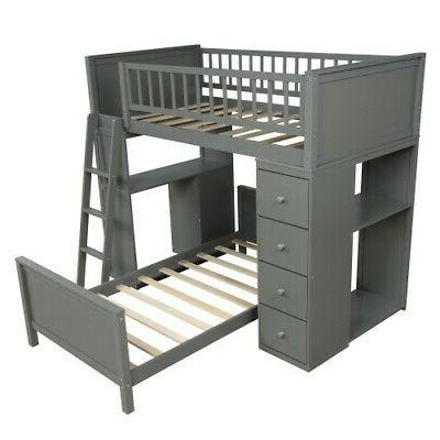 Gray Twin Bunk Loft Twin Bed Wood
