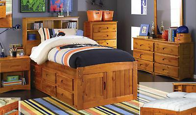 Discovery World Furniture Honey Twin Size Captains Bed