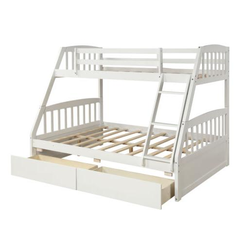 Kids Bunk Twin over Full Wooden Beds Storage Drawers New
