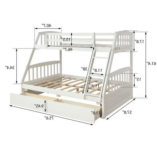 Kids Twin over Full Solid Wooden Beds Storage