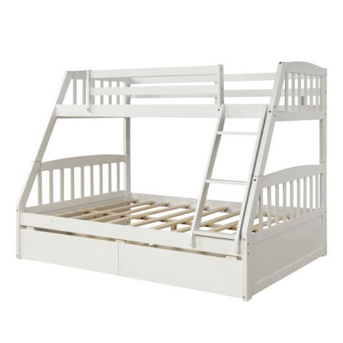 Kids over Full Solid Wooden Bunk w/2 Storage