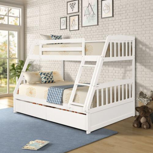 kids bunk bed twin over full solid
