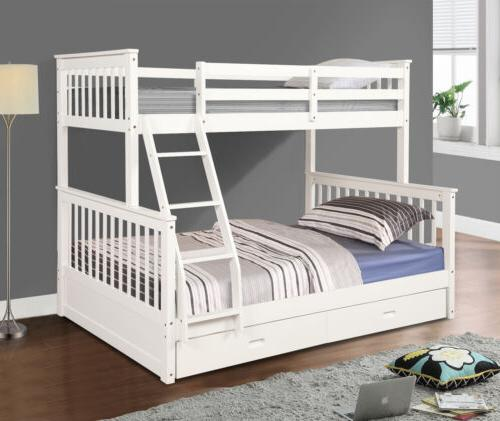 Kids Bed over Full Solid Wood Wooden Bunk Beds With Storage Drawers
