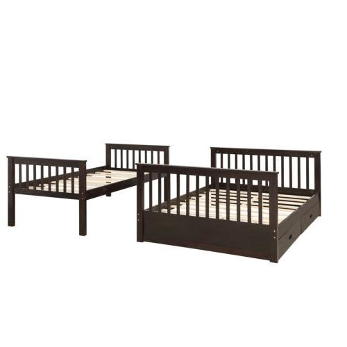 Kids Bunk Bed over Full Wooden Beds Storage Drawers