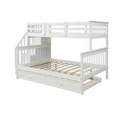 Kids Stairway Bunk Trundle,Storage,Guard