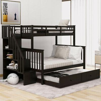 Kids Twin-Over-Full Bunk Frame with Trundle,Storage,Guard