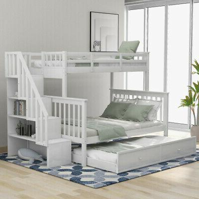 Kids Stairway Bunk Bed Trundle,Storage,Guard Rail
