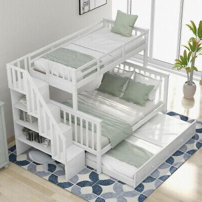 Kids Bunk Bed Trundle,Storage,Guard Rail