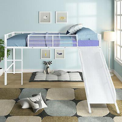 kids twin size bunk bed white slide