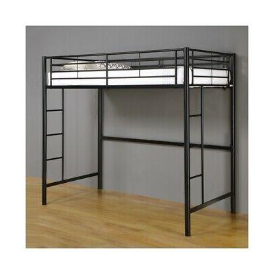 Metal Loft Bed in Black