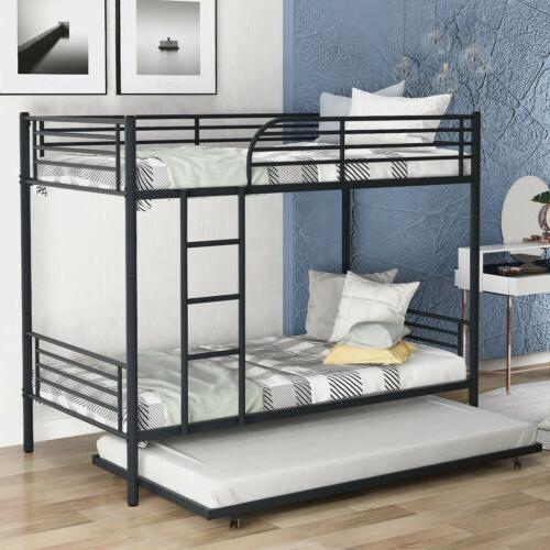Metal Twin over Twin Bunk Bed Frame Ladder w/Trundle Kids Ad