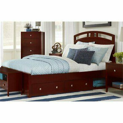 pulse king storage bed in cherry