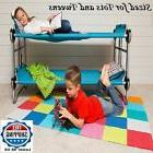 Camping Bunk Beds Set 2 Teal Blue Young Kids Cots with Organ