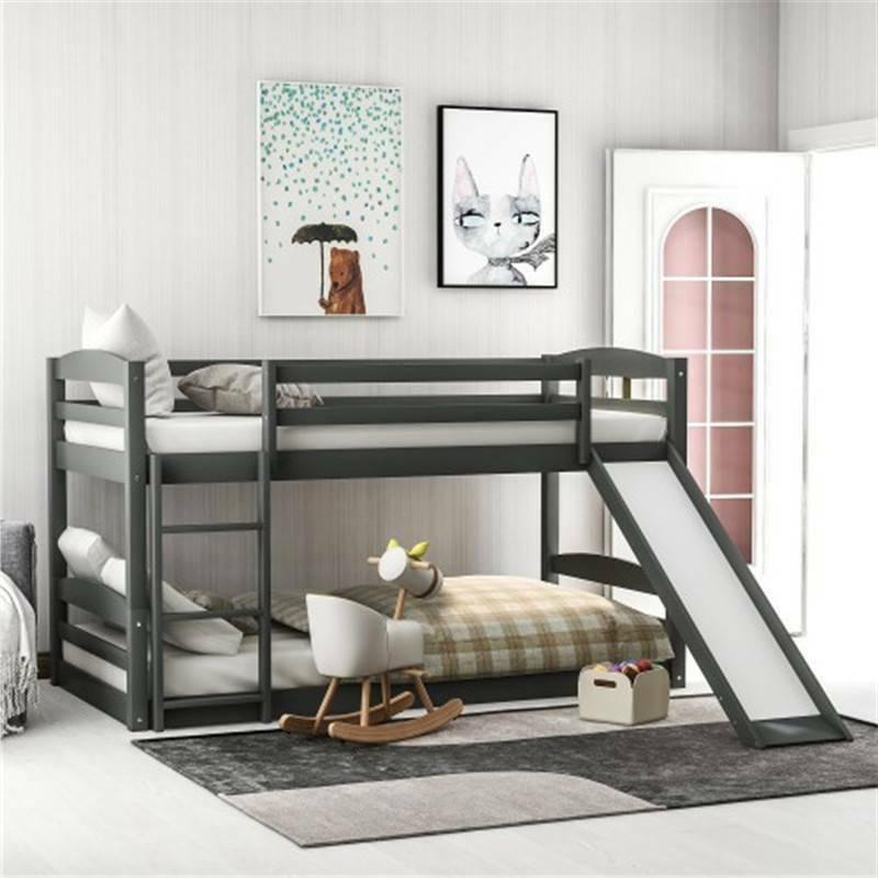 Solid Wood Twin over Twin Low Bunk Bed Kids Wooden Bunk Beds