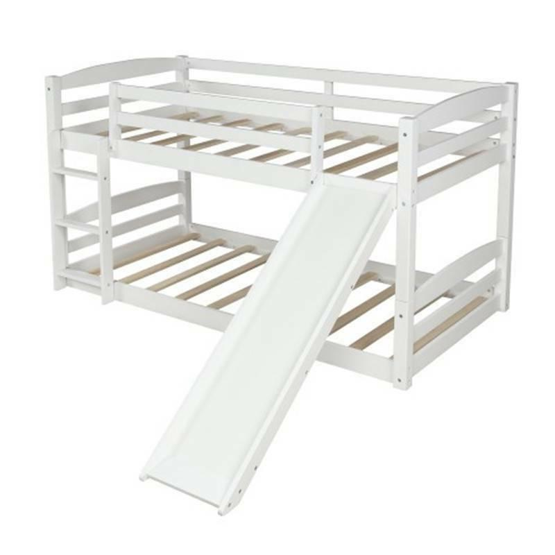 Wood over Twin Low Bed Kids Wood Bed with Slide & Home @cy
