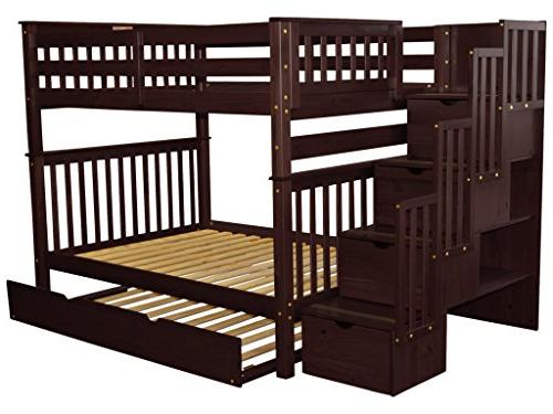 Bedz King Beds Full over with Drawers in the Steps and Twin Trundle, Cappuccino