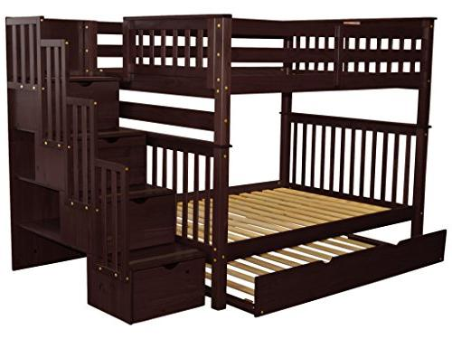 Bedz Stairway Bunk Beds Full over with 4 Drawers in the Steps Twin Cappuccino