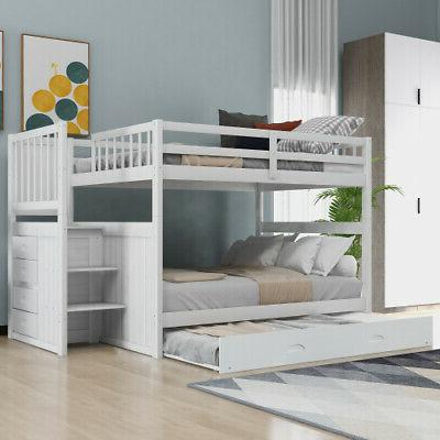 Full over Full Stairway Bunk Bed with Trundle Bunk Bed Frame