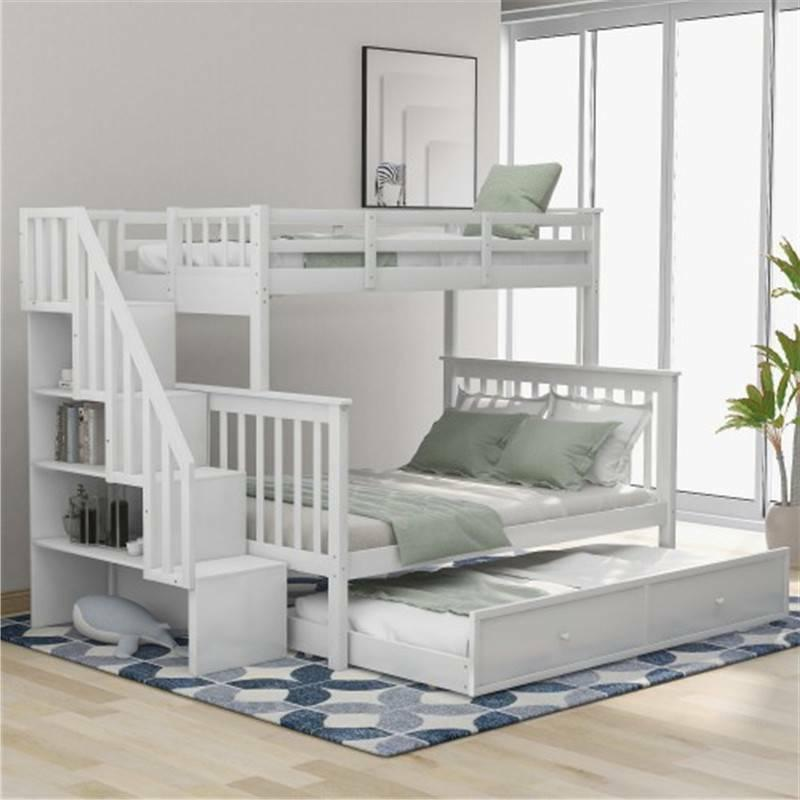 White Stairway Twin-Over-Full Bunk Bed Frame with Twin size