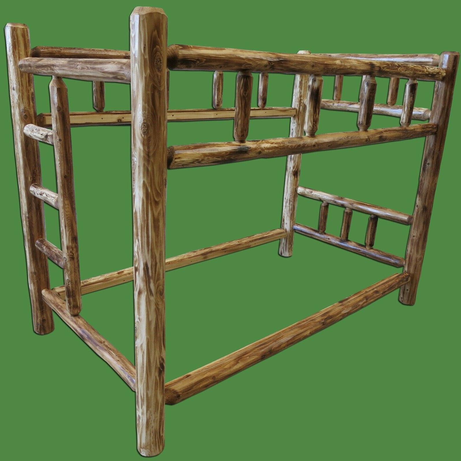 Cabin Torched Cedar Bunk - Over - Free Shipping