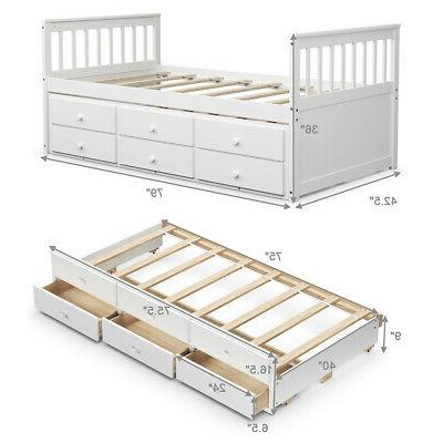 Twin Captain's Bed & for White