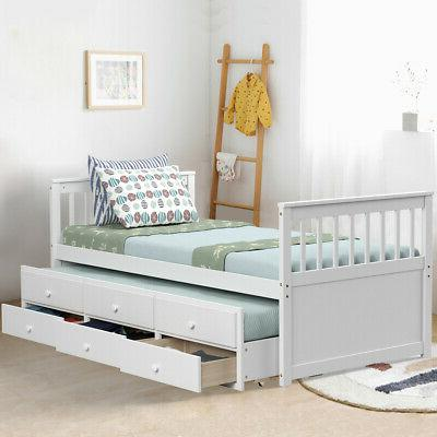 Twin Captain's Bed Alternative & Drawers for Kids White
