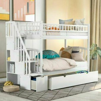 Twin Over Bunk Beds Wood Loft Convertible Bunk Bed W/Drawers