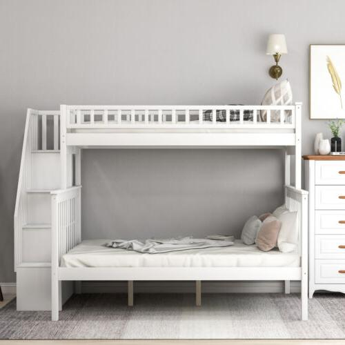 Twin Over Full Bunk Beds Kids Loft Bed with Shelves for Bedroom