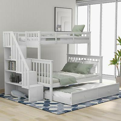 Twin Over Full Bunk Bed With Trundle Storage Bed Bedroom Fur
