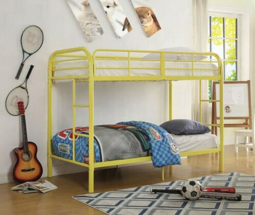 twin over twin bunk bed with metal