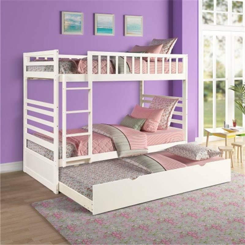 Twin Over Twin Bunk Bed w/Trundle Solid Wood Bunk Bed Bedroo