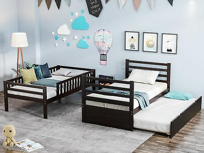 Twin Bed Wood Frame Bed Trundle