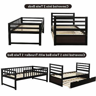 Twin Over Bed Wood Bed With Ladders And Trundle