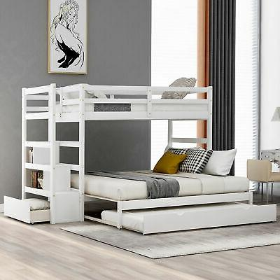 Twin over Full Stairway Bunk Bed with Trundle Bunk Bed Frame