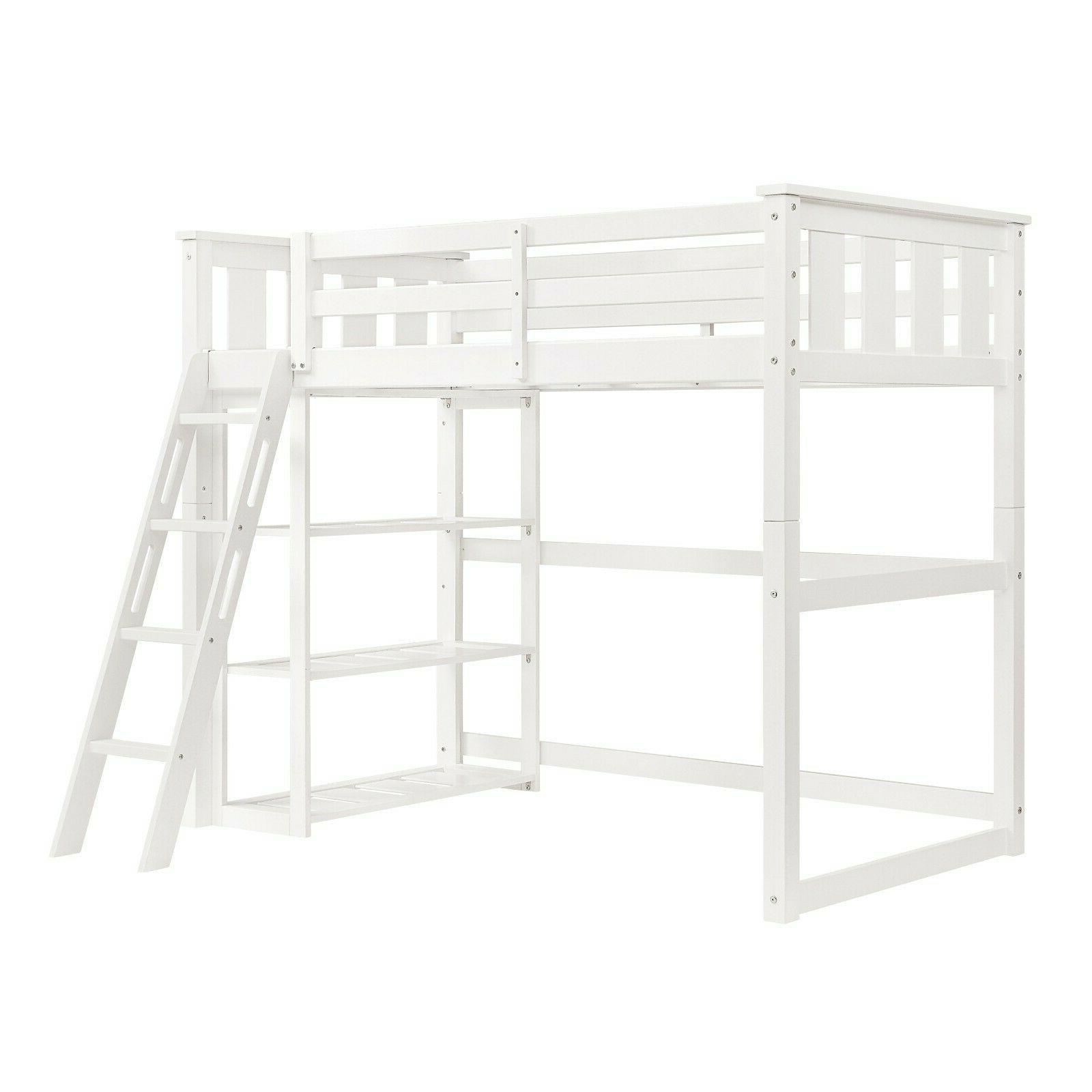 Twin Bunk Bed Wooden Teens Child White