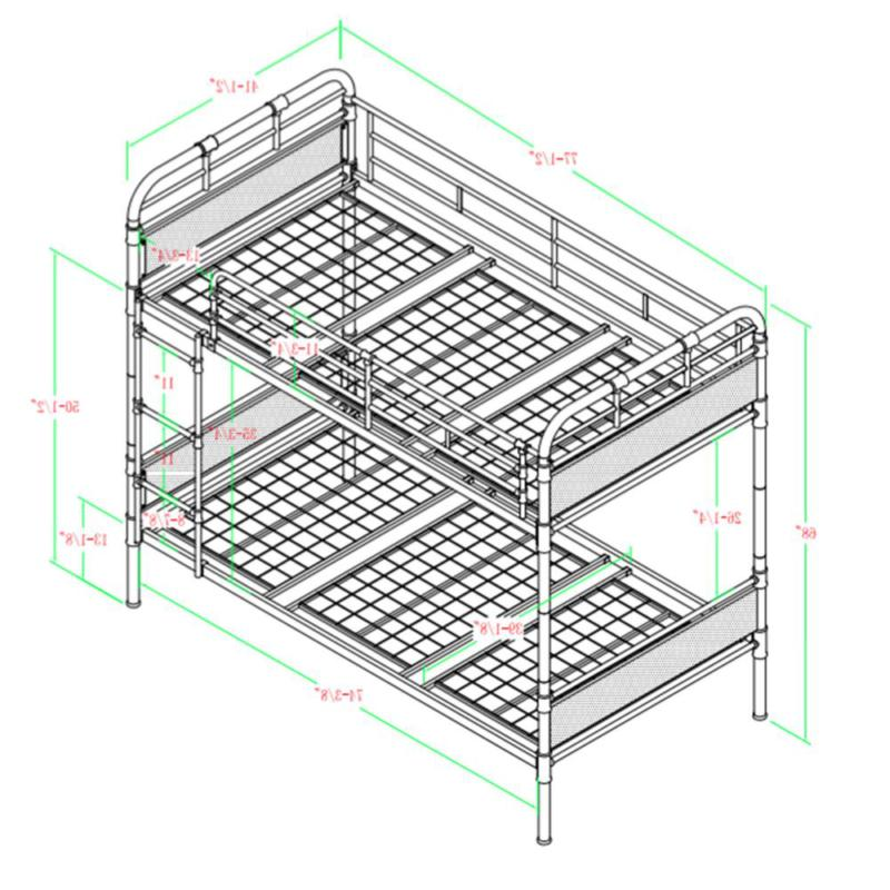 Urban Industrial Twin over Twin Metal Wood Bunk Bed for kinds