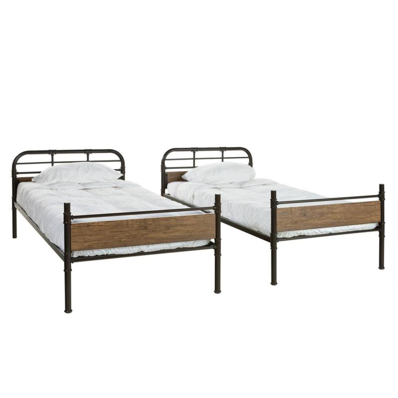 Urban Industrial Twin Wood Bunk Bed for kinds - Black