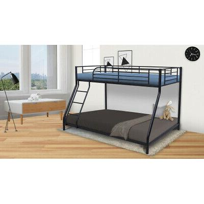 Bunk Bed Frame Twin Over Full Metal Home Kids Furniture Comf