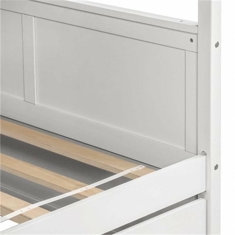 White Bunk Trundle and Ladder Frame House