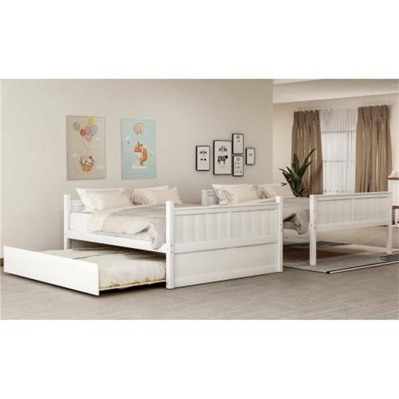 White Bunk Bed Trundle and Ladder Bed Frame House