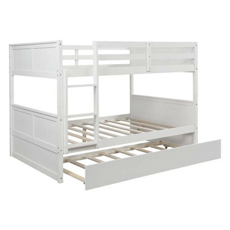 White Full Over Full Bunk Bed w/Twin Size Trundle and Ladder