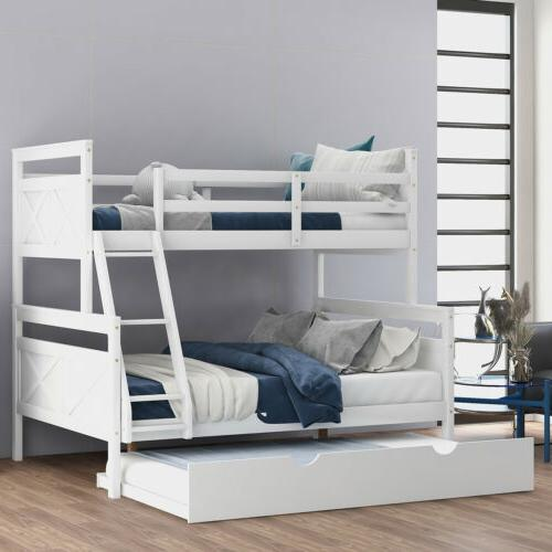 Wood Twin Full Bunk Bed Ladder & Safety Guardrail White