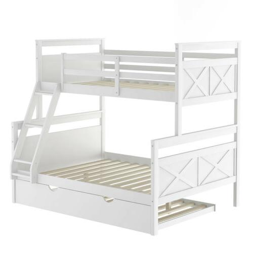 Wood Full Bunk Bed Ladder & Guardrail White