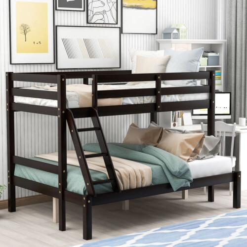 Twin Over Full Wood Bunk Bed Frame Lofted Kids Adult W/ Ladd