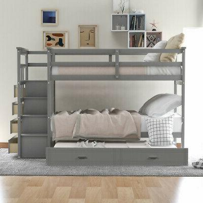 Wood Bunk Beds Loft Twin Storage Bed Wood Bed