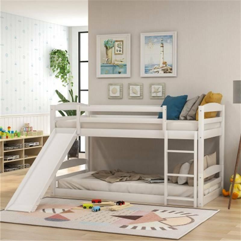 Wood Twin Wood Bunk Bed Slide Home @cy