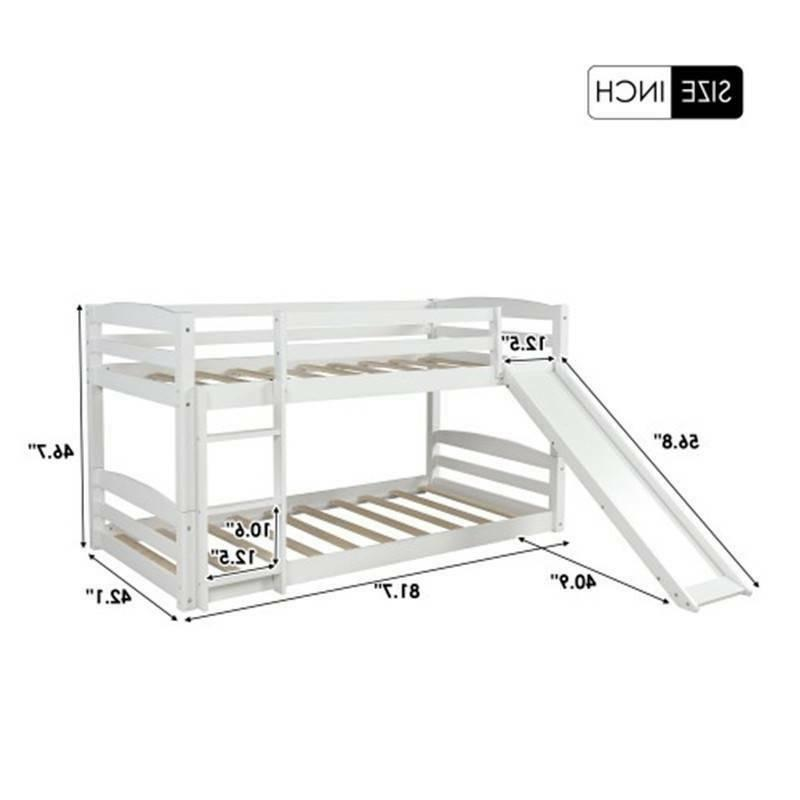 Wood Twin over Twin Low Bed Wood Bunk Slide & Ladder Home @cy