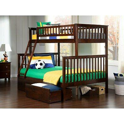 Woodland Bunk Bed Twin over Full with 2 Urban Bed Drawers in