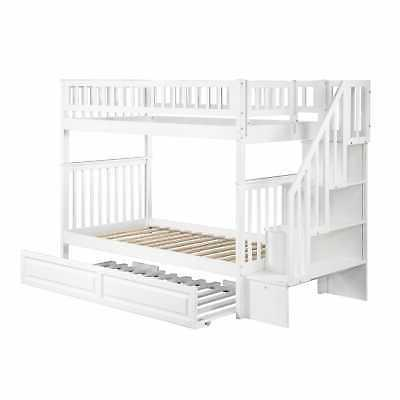 Woodland Staircase Bunk Twin Size White