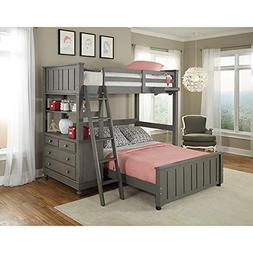 NE Kids Lake House Twin Bunk Bed with Full Lower Bed in Ston